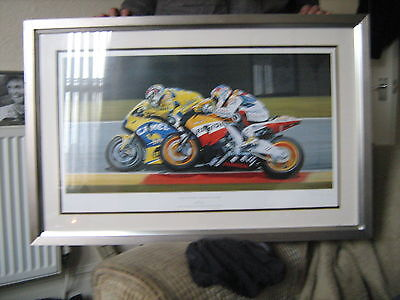 NICKY HAYDEN vs VALENTINO ROSSI FRAMED LTD ED PRINT 99/350 (RACE FOR THE LINE)