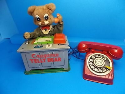 Cragstan tin battery operate 1950's toy - Rare TELLY BEAR W/ PHONE tin toy lot