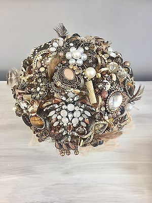 Blush Gold And Bronze Mix Full Brooch Vintage Brides Wedding Flowers Bouquet