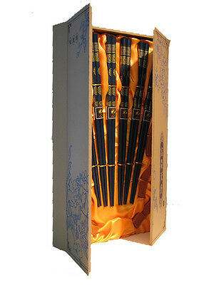 Traditional Chinese Lacquered Wood Chopsticks & Rests, Dark Blue In Flip Lid Box