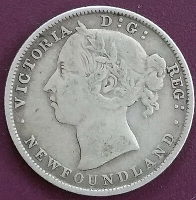 1894 Newfoundland silver 20 cents piece in Fine condition. Canada Sterling