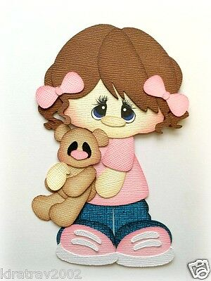 Premade Paper Piecing Girl With Her Baby Teddy 3D Die Cut Piece  Mytb *kira*