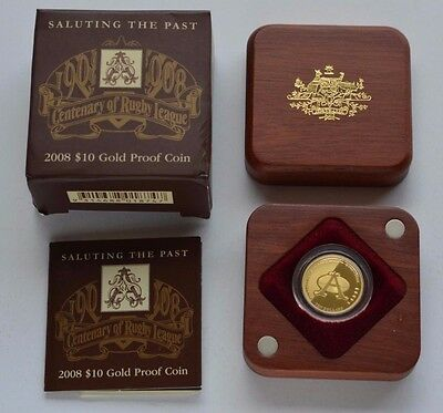 2008 Australia $10 Gold Proof Coin - Centenary Of Rugby League - 1/10 Oz