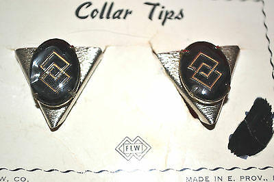 Vintage Metal Collar Tips, Double Diamond, brushed silver, Providence. FLW Comp.