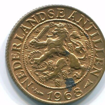 1968 Netherlands Antilles 1 Cent Fish Bronze Colonial Coin S10812