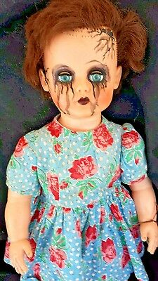 Crying Haunted house prop baby doll halloween vtg horror zombie walking antique