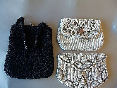 3 Vintage  BEADED CLUTCH  PURSES  2 White, 1 Black