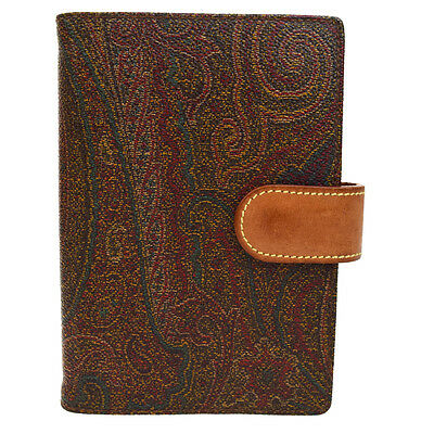 Authentic ETRO Logos Agenda Day Planner Cover Paisley Leather Brown 03Q680