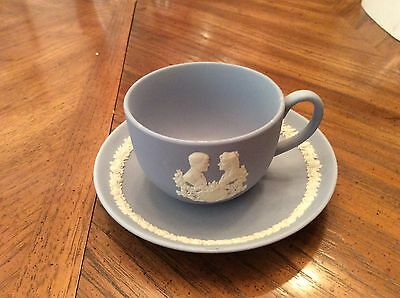 Wedgwood blue jasper ware cup and saucer - Royal Wedding Charles and Diana