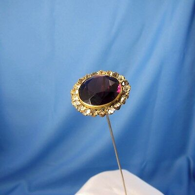 Antique Round Purple Stone with Rhinestones Faceted Hatpin Hat Pin