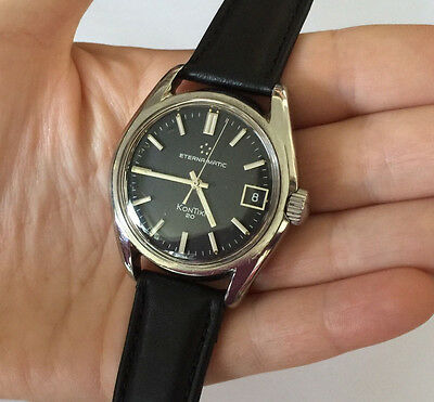 Automatic Eterna-Matic Kontiki 20 VINTAGE SILVER TONE MENS WATCH Rare 60s Mint