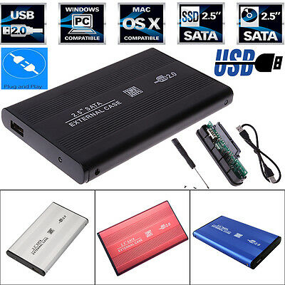 "USB 2.0 SATA 2.5"" HDD Hard Drive Disk External Enclosure Case Box for Laptop PC"