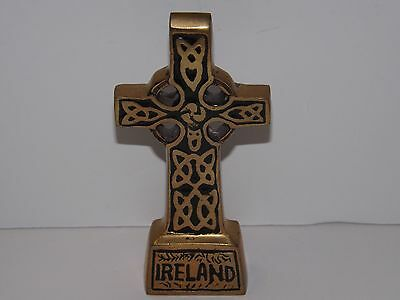 Liffey Artefacts Hand Crafted Ireland Brass Tone Celtic Cross