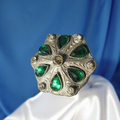 Antique Six Green Faceted Teardrop Stones Hatpin Hat Pin