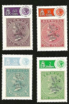 Bermuda Stamp On Stamp London Stamp Show Overprint Mint Stamps 594-597 Scv$10.35