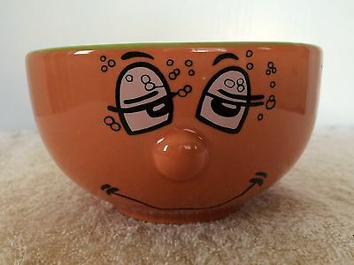 Sleepy Funny Face Emoticon Soup Cereal Bowl 3D Protruding Nose Orange Green