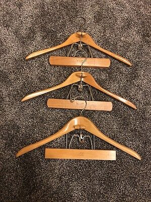 3 Vintage Setwell Wood Suit Hangers Jacket Pants Clamp USA Made