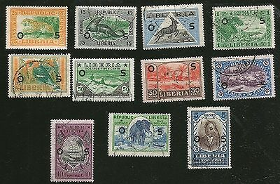 LIBERIA AFRICA ANIMALS OLD STAMPS FROM 1920s ELEPHANT $5.00  CROCODILE LEOPARD