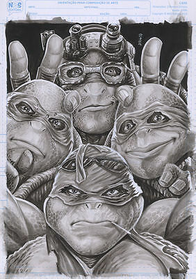 Teenage Mutant Ninja Turtles Original Art Pin-Up 11 X 17 By Artist Edson Novaes
