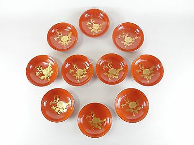 Japanese antique vintage vermilion lacquer wood small plate bowl 10 pcs chacha