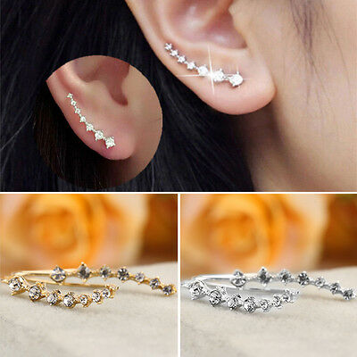 Women Fashion Rhinestone Crystal Earrings Ear HoOP Stud Jewelry Gift NEW OP