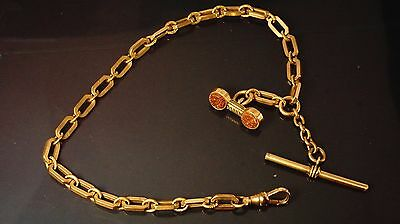 Antique gold filled pocket watch chain fob 11.5 inch