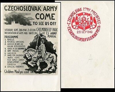 Cv009 Czechoslovak Forces In Great Britain Invitation For Presentation Card 1940