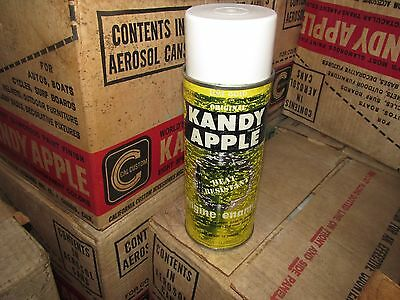 VINTAGE KANDY APPLE SPRAY PAINT CAN lime gold  TEXTURED PAPER LABEL CAL CUSTOM