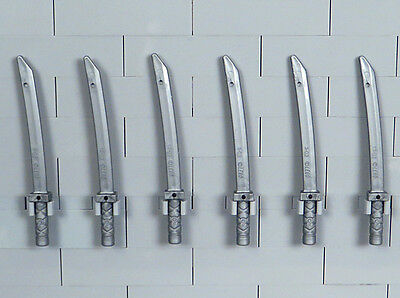 LEGO Ninjago - Lot of 6 Flat Silver Katanas Swords, Minifigure Weapons (NEW)