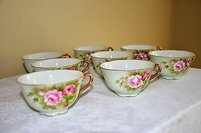 Set of 8 ~ LEFTON Hand Painted Green Heritage w/ Pink Roses Tea Cups  Japan