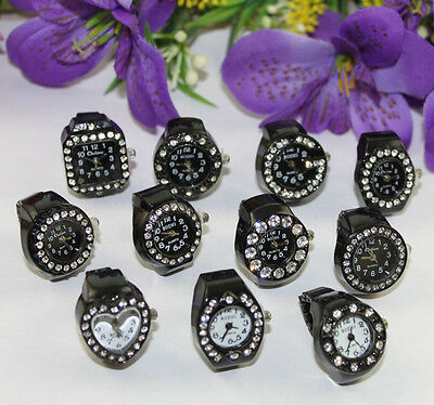 10pcs mixed styles rhinestone Black elastic Finger Ring Watch #22386