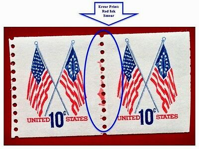US Stamps #1519 10¢ Cross Flags Coil Pair Ink Smear ERROR 1973-1974