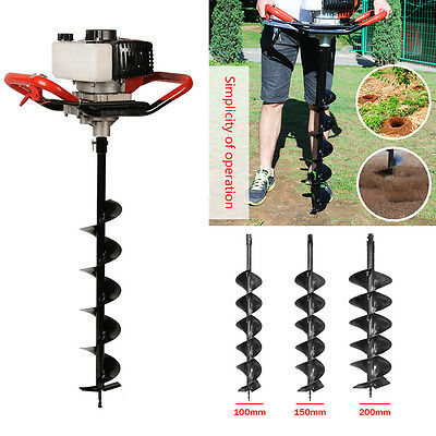 52cc Petrol Earth Auger Fence Post Hole Borer Ground Drill Digger+ 3 Bits Kit