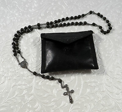French Rosary With Black Case Small Size French Rosary Black Plastic Beads