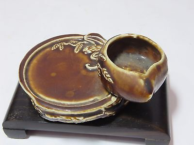 Very unique antique Chinese brown porcelain brush washer and ink stone