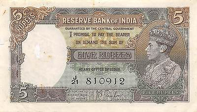 India 5 Rupees  ND.1937 P 18a Prefix J/21 circulated Banknote G. A1
