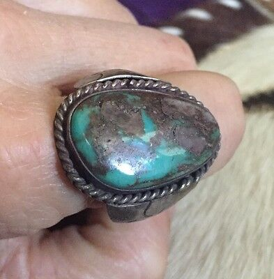 Rare Old Pawn Navajo Native American 925 Sterling Silver Bisbee Turquoise Ring