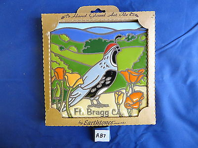 "Ceramic Art Tile 6""x6"" FORT BRAGG CA Keepsake Quail Poppy handpainted NEW A87"