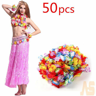 50PCS Lei Flower Garlands Necklace Hawaiian Tropical Beach Party Fancy Dress