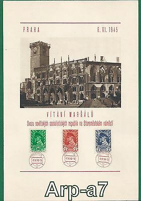 (A381) Czechoslovakia sheet 1945 Welcoming marshal on Old Town Square