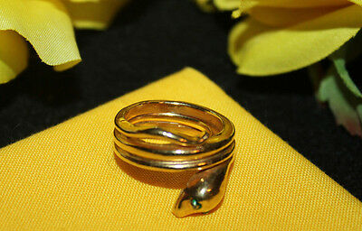 Stunning Crown Trifari Signed Gold Tone Snake Ring - Rare And Excellent-Wow