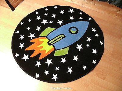 Childrens Twilight Glow in the Dark Rocket Ship Rug