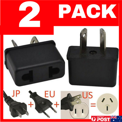 2 x USA EU EURO ASIA to AU AUS AUST AUSTRALIAN POWER PLUGs TRAVEL ADAPTER