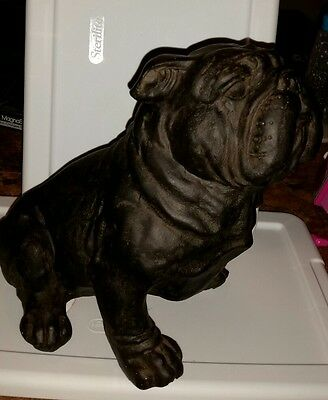 "Bulldog Puppy Dog Sitting Figurine Statue Resin Pet 8.5"" H Ornament New Wrinkles"