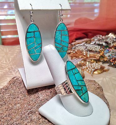 Jay King Matching Green Turquoise Drop Earrings & Elongated Ring Sz 9