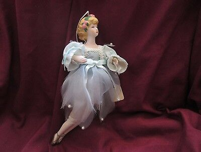 Vintage Victorian style Porcelain Ballerina Doll Ornament $0 Shipping