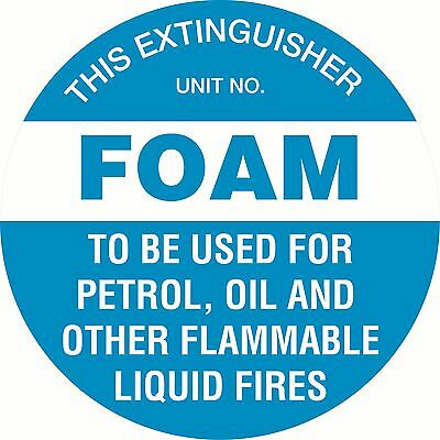 Fire Extinguisher Safety Sign Markers  200mm dia Foam Self Adhesive Sticker