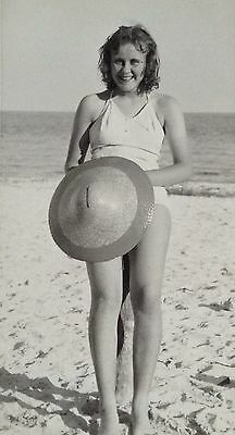 Vintage Girl At A Beach In Florida Old Photo