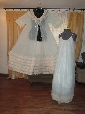 Vintage Intime Nightgown Robe Peignoir Set 4 Layers Chiffon Sissy-SIZED LARGE!