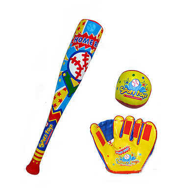 Kids Plastic Cartoon Baseball Set Outdoor Sports Exercise Toys Bat/Gloves/Ball